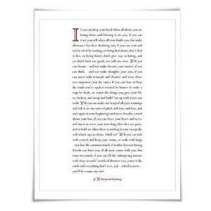 If by Rudyard Kipling Art Print. 60 Colours/4 Sizes. Poetry Poster. Inspirational. Graduation Gift.
