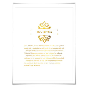 Invictus Gold Foil Print. 7 Foil Colours. Graduation Gift. Inspirational Motivational Poster. Master of my Fate