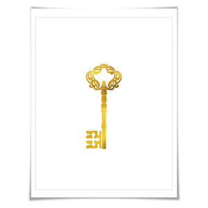 Skeleton Key 3 Gold Foil Art Print. 7 Foil Colours/3 Sizes. Vintage Key Poster Office Art History