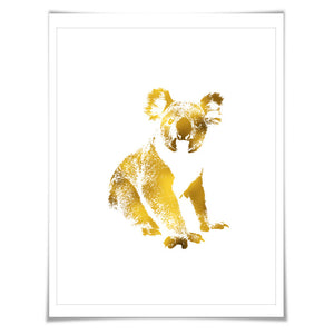 Koala Bear Gold Foil Nursery Art Print. 7 Foil Colours. 3 Sizes. Animal Print, Wildlife Art.
