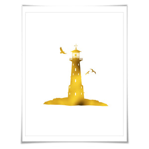 Lighthouse Gold Foil Art Print. 7 Foil Colours. 3 Sizes. Nautical Wall Art Beach Decor Boating Cottage Poster Nursery
