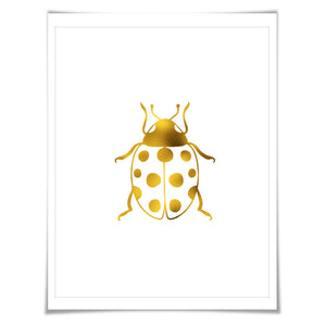 Ladybug Gold Foil Nursery Art Print. 7 Foil Colours. 3 Sizes. Ladybug Poster, Nursery Art Print