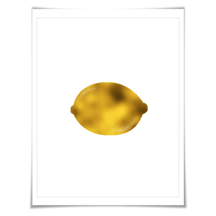 Lemon Gold Foil Art Print. 7 Foil Colours/3 Sizes. Fruit Wall Art, Kitchen Poster Cooking Food Chef Cook