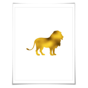 Lion Gold Foil Art Print. 7 Foil Colours. 3 Sizes. Animal Print, Wildlife Art, Lion Wall Art, Gold Lion Poster.