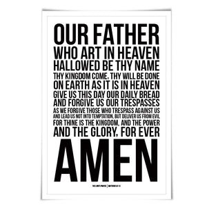 Lord's Prayer Matthew 6:9-13 Art Print. 60 Colours/3 Sizes. Bible Verse Art. Scripture. Christian Poster. Biblical Prayer