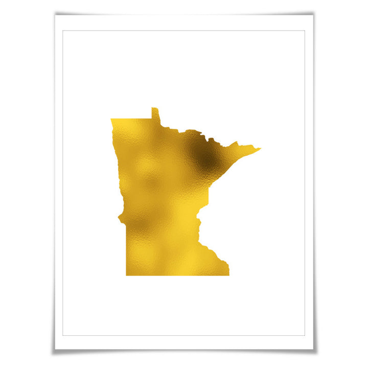 Minnesota State Map Gold Foil Art Print. 7 Foil Colours/3 Sizes. Travel Poster. USA Map Wall Art