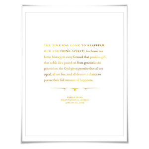 Barack Obama 2009 Inauguration Speech Gold Foil Art Print. 7 Foil Colours. Graduation Gift. American History