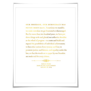 Barack Obama State of the Union Speech Gold Foil Art Print. 7 Foil Colours. Graduation Gift. American History