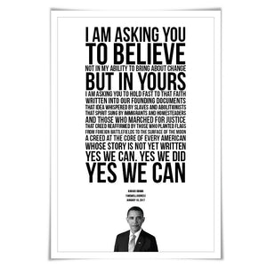 Barack Obama 2017 Farewell Address Speech Art Print. 5 Sizes. Presidential Quote. American History