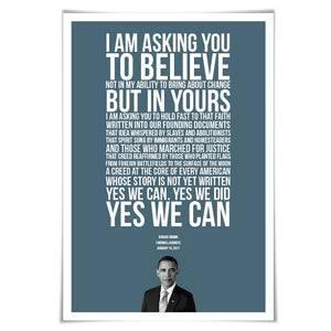 Barack Obama 2017 Farewell Address Speech Art Print. 60 Colours/5 Sizes. Presidential Quote. American History