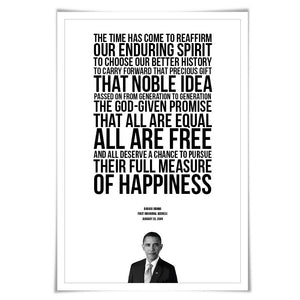 Barack Obama 2009 Inauguration Speech. 5 Sizes. Obama Quote. American History Poster. President Quote