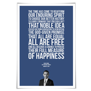 Barack Obama 2009 Inauguration Speech Art Print. 60 Colours/5 Sizes. Presidential Quote. American History