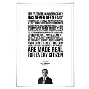 Barack Obama State of the Union Speech. 5 Sizes. Obama Quote. American History Poster. President Quote