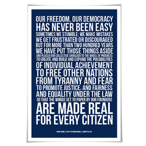 Barack Obama State of the Union Speech Art Print. 60 Colours/4 Sizes. Presidential Quote. American History