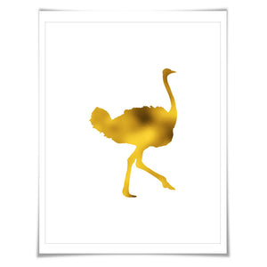 Ostrich Gold Foil Nursery Art Print. 7 Foil Colours. 3 Sizes. Animal Print. Bird Art Print