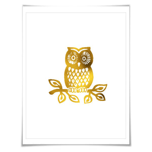 Owl Gold Foil Nursery Art Print. 7 Foil Colours. 3 Sizes. Animal Print. Bird Poster