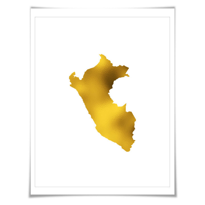 Peru Map Gold Foil Art Print. 7 Foil Colours/3 Sizes. Travel Poster. Country Map Wall Art