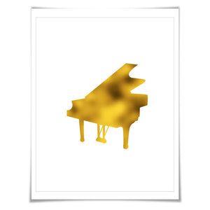 Grand Piano Gold Foil Art Print. 7 Foil Colours/3 Sizes. Musical Poster Gift for Musician Classical Music Decor Art