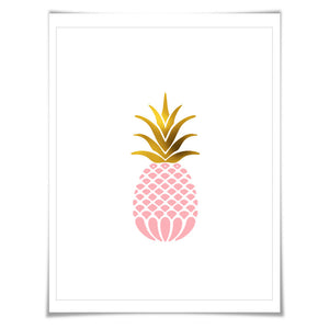 Gold Foil Pink Pineapple Art Print. Food Poster Kitchen Art Print, Tropical Fruit Poster