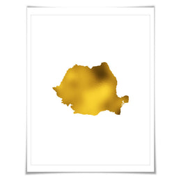 Romania Map Gold Foil Art Print. 7 Foil Colours/3 Sizes. Travel Poster. Country Map Wall Art