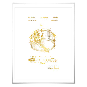Snare Drum Gold Foil Patent Illustration. 7 Foil Colours. Music Poster. Drummer Art Print