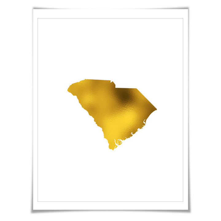 South Carolina State Map Gold Foil Art Print. 7 Foil Colours/3 Sizes. Travel Poster. USA Map Wall Art