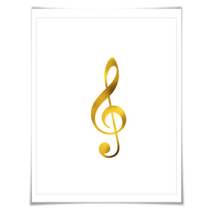 Treble Clef Gold Foil Art Print. 7 Foil Colours/3 Sizes. Musical Notation Music Poster Gift for Musician Classical Music Decor Art