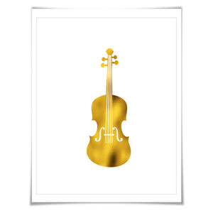 Violin Gold Foil Art Print. 7 Foil Colours/3 Sizes. Musical Poster Gift for Musician Classical Music Decor Art
