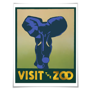 Visit the Zoo WPA Poster Gold Foil Art Print. Elephant Art Vintage Poster Zoo Animal Retro Art History