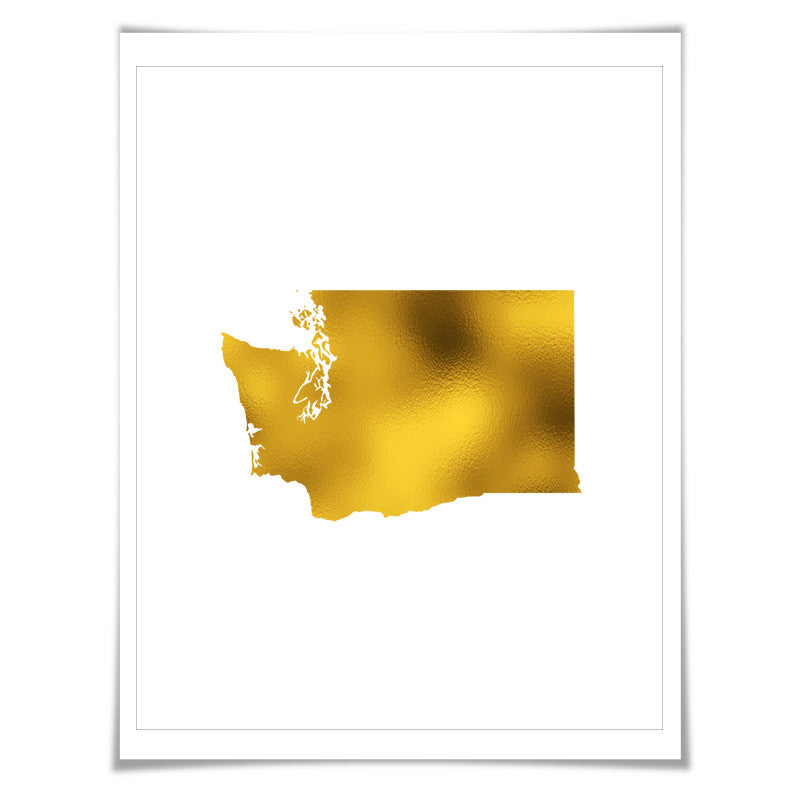 Washington State Map Gold Foil Art Print. 7 Foil Colours/3 Sizes. Travel Poster. USA Map Wall Art