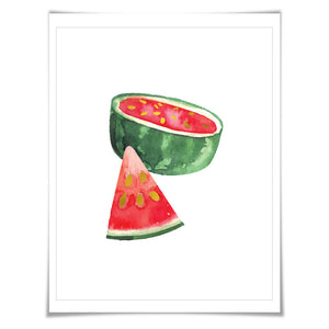 Gold Foil Watermelon Art Print. Food Poster Kitchen Art Print, Tropical Fruit Poster