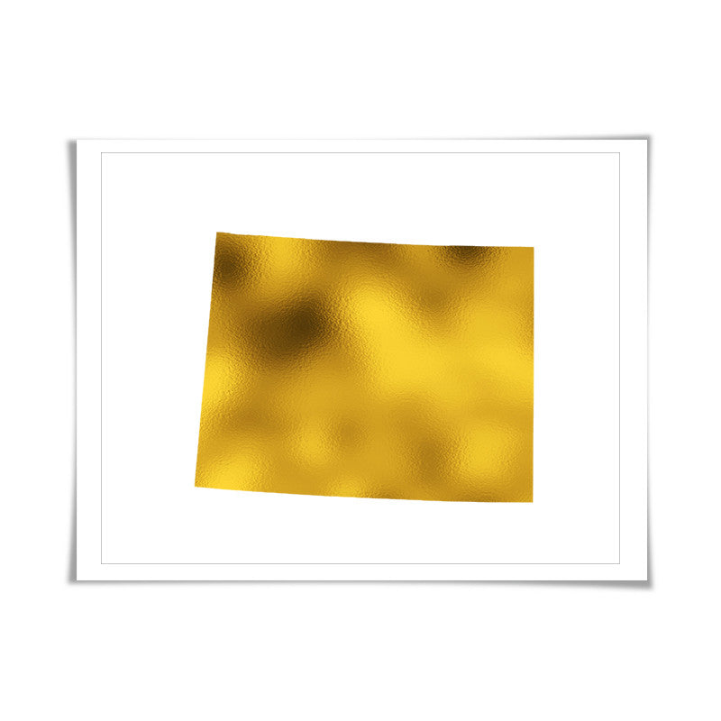 Wyoming State Map Gold Foil Art Print. 7 Foil Colours/3 Sizes. Travel Poster. USA Map Wall Art