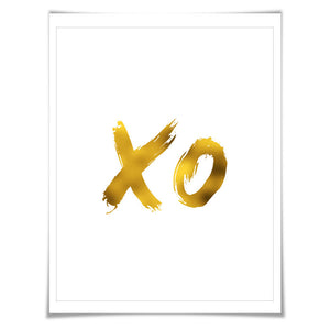 Hugs and Kisses Art Print - XO Gold Foil Print. 7 Foil Colours/3 Sizes. Romantic Love Poster