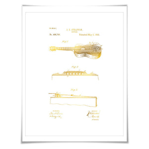 Acoustic Guitar Gold Foil Patent Illustration. 7 Foil Colours. Music Poster. Guitar Player Art Print