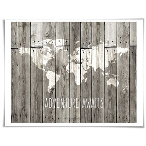 Adventure Awaits Travel Art Print. 5 Sizes. World Map Adventure Poster Motivational Inspirational.