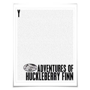Adventures of Huckleberry Finn. Mark Twain. Literary Art Print. Literature Poster. Book Art
