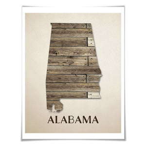 Alabama Map Art Print. 5 Sizes. Travel Poster. Custom State. USA Map. Rustic Art Home Decor.