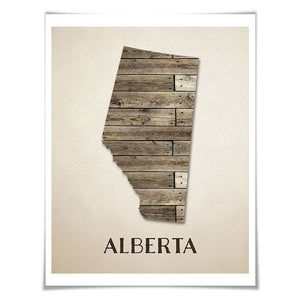 Alberta Map Art Print. 5 Sizes. Travel Poster. Custom Province. Canada Map. Rustic Art Home Decor.
