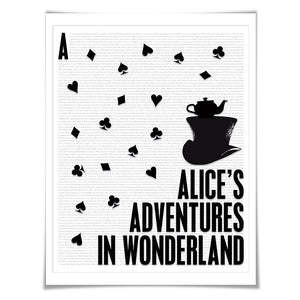 Alice in Wonderland by Lewis Carroll. Literary Art Print. Literature Poster. Book Art