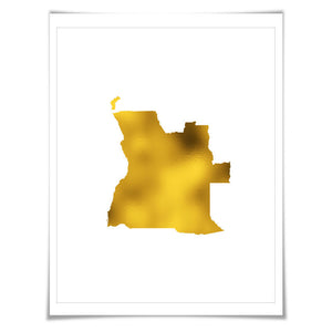 Angola Map Gold Foil Print. 7 Foil Colours/3 Sizes. Guinea Map Print. Gold Map. Home Country Map