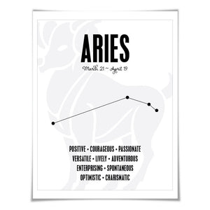 Aries Personality Character Traits Art Print. 60 Colours/5 Sizes. Astrology Zodiac Horoscope