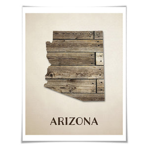 Arizona Map Art Print. 5 Sizes. Travel Poster. Custom State. USA Map. Rustic Art Home Decor.