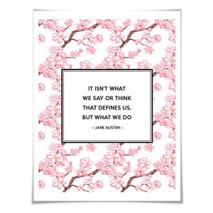 Sense & Sensibility Jane Austen Quote Art Print. 5 Sizes/24 Backgrounds. Floral. Literary Poster Book Quote