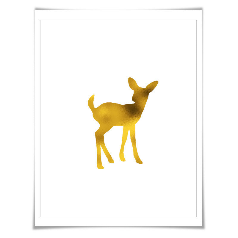 Baby Fawn Gold Foil Nursery Art Print. 7 Foil Colours. 3 Sizes. Fawn Wall Art, Fawn Poster
