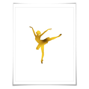Ballerina 1 Gold Foil Art Print. 7 Foil Colours/3 Sizes. Ballet Dancer Poster. Dance Art. Nursery Art