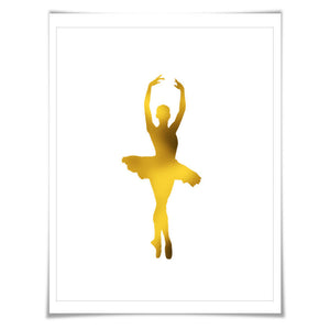 Ballerina 2 Gold Foil Art Print. 7 Foil Colours/3 Sizes. Ballet Dancer Poster. Dance Art. Nursery Art