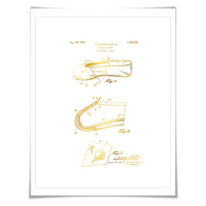 Ballet Slipper Gold Foil Patent Illustration. 7 Foil Colours. Ballet Shoe. Ballerina Dancer. Vintage