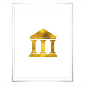 Bank Building Gold Foil Art Print. 7 Foil Colours/3 Sizes. Banking Finance Poster. Building Wall Street