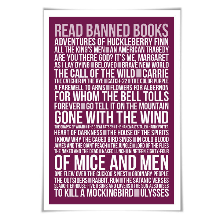 Read Banned Books Library Poster Literary Art Print. 60 Colours/3 Sizes. Reader English Teacher Gift