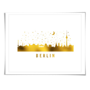 Berlin Skyline Gold Foil Art Print. 7 Foil Colours/3 Sizes. Travel Poster. City Skyline Art